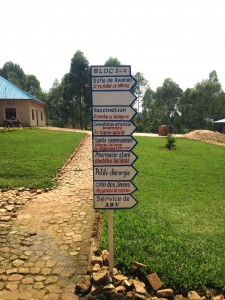 Sign of directions at the health clinic